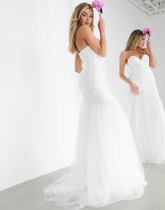 Свадебное платье с вышивкой и годеASOS EDITION-Белый