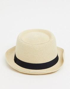 Бежевая соломенная шляпа с плоской тульей ASOS DESIGN-Бежевый