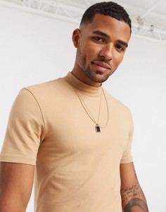 Светло-коричневая обтягивающая футболка с высоким воротником ASOS DESIGN-Светло-коричневый