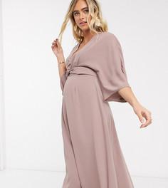 """Приталенное платье миди с рукавами """"летучая мышь"""" ASOS DESIGN Maternity-Розовый"""