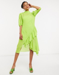 Свободное платье миди с высоким воротником Lost Ink-Зеленый