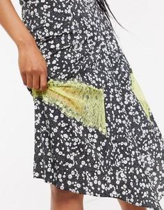Юбка миди с цветочным принтом и кружевной отделкой Lost Ink-Мульти