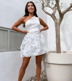 Белое короткое приталенное платье для выпускного на одно плечо Outrageous Fortune Petite-Белый