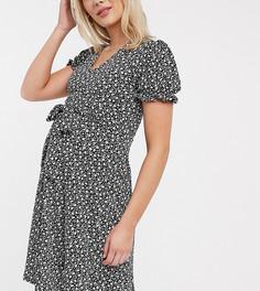 Черное чайное платье мини с пышными рукавами и пайетками New Look Maternity-Черный