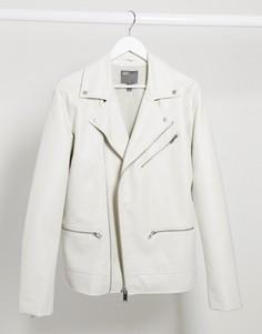 Белая байкерская куртка из искусственной кожи ASOS DESIGN-Белый