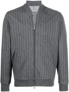 Brunello Cucinelli куртка-бомбер в тонкую полоску
