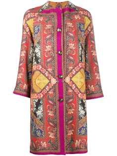 Etro твидовое пальто с принтом пэчворк