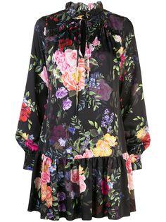 Marchesa Notte платье мини с цветочным принтом