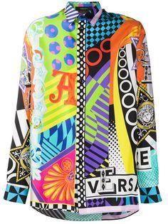 Versace рубашка с абстрактным принтом