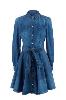 Джинсовое платье-рубашка с расклешенной юбкой Guess