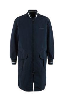 Удлиненная легкая куртка-бомбер синего цвета Armani Exchange