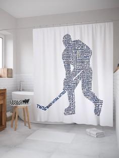 Штора для ванной JoyArty «Хоккейная пора» из ткани, 180х200 см с крючками
