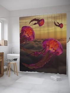 Штора для ванной JoyArty «Летучие медузы» из ткани, 180х200 см с крючками