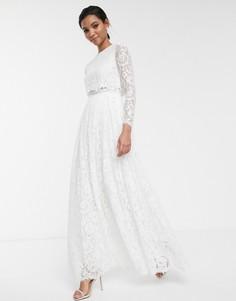Свадебное кружевное платье макси с кроп-топом ASOS EDITION-Белый
