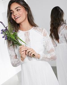 Свадебное платье макси с длинными рукавами плиссированной юбкой ASOS EDITION-Белый