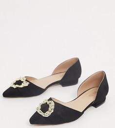 Туфли на плоской подошве для широкой стопы с золотистой отделкой RAID-Черный