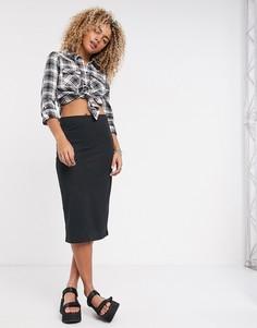 Черная облегающая юбка с завышенной талией Noisy May-Черный