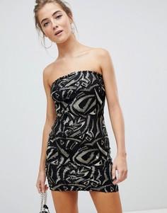 Платье-бандо с пайетками Parisian-Черный