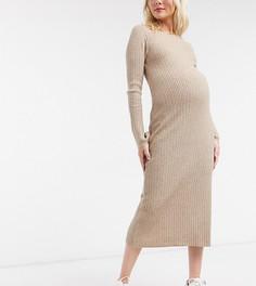 Платье миди в рубчик с круглым вырезом ASOS DESIGN Maternity-Светло-бежевый