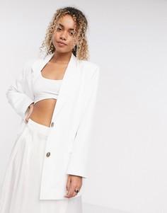 Oversized-пиджак цвета слоновой кости ASOS DESIGN-Белый