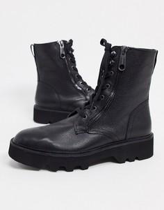 Черные кожаные ботинки на шнуровке Calvin Klein-Черный
