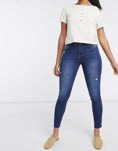 Темно-синие джинсы скинни с необработанным краем Bershka-Синий