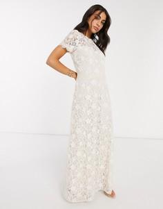 Свадебное платье макси цвета слоновой кости Vila-Белый