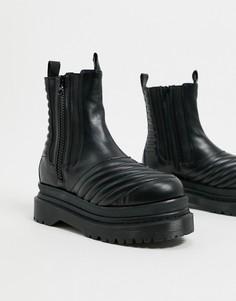 Черные ботинки на массивной плоской подошве Jeffrey Campbell-Черный