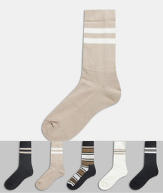 5 пар спортивных носков в университетском стиле ASOS DESIGN-Мульти