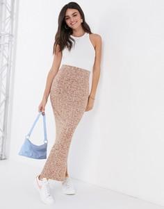 Коричневая меланжевая юбка макси в рубчикASOS DESIGN-Коричневый