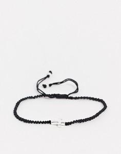 Черный плетеный браслет на ногу с подвеской-крестомASOS DESIGN