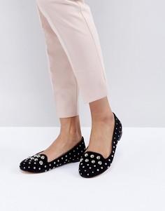 Замшевые туфли на плоской подошве с заклепками Office Floodlight-Черный