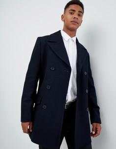 Двубортное пальто-бушлат с добавлением шерсти French Connection-Темно-синий