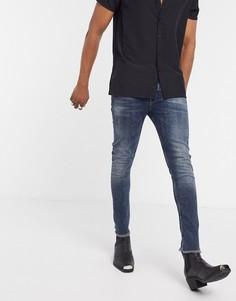 Темные укороченные джинсы скинни с необработанными краями ASOS DESIGN-Синий