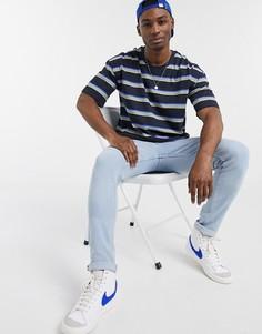 Темно-синяя футболка в полоску Esprit-Темно-синий