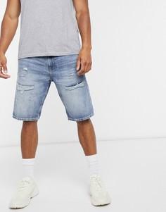 Голубые джинсовые шортыс состаренной отделкой Esprit-Синий