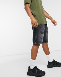 Черные джинсовые шортыс состаренной отделкой Esprit-Черный