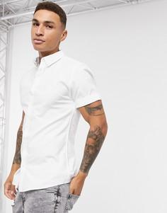 Белая оксфордская рубашка с короткими рукавами River Island-Белый