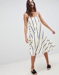 Летнее платье миди в полоску ASOS DESIGN-Мульти