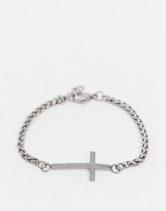 Серебристый браслет-цепочка с крестом Seven London-Серебряный
