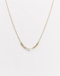 Золотистое ожерелье-цепочка с искусственным жемчугомNylon-Золотой