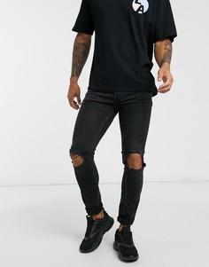 Черные джинсы скинни с рваной отделкой Topman-Черный