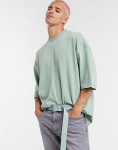 Зеленая плотная oversized-футболка ASOS DESIGN-Зеленый