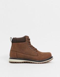 Темно-коричневые ботинки хайкеры New Look-Светло-коричневый