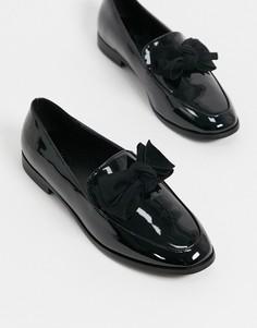 Черные туфли на плоской подошве с бантом ASOS DESIGN-Черный