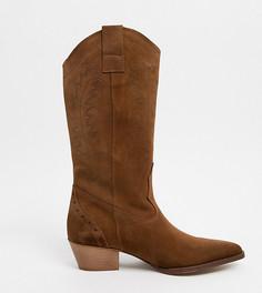 Светло-коричневые замшевые ботинки в стиле вестерн для широкой стопы Depp-Светло-коричневый