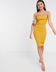 Золотисто-желтое платье миди на бретельках Vesper-Желтый