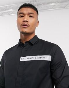 Черная рубашка с длинными рукавами и контрастным логотипом Armani Exchange-Черный