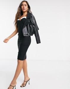 Черноеоблегающее платье-бандо миди Vesper-Черный