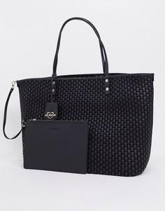 Черная сумка-тоут с плетеным эффектом Love Moschino-Черный